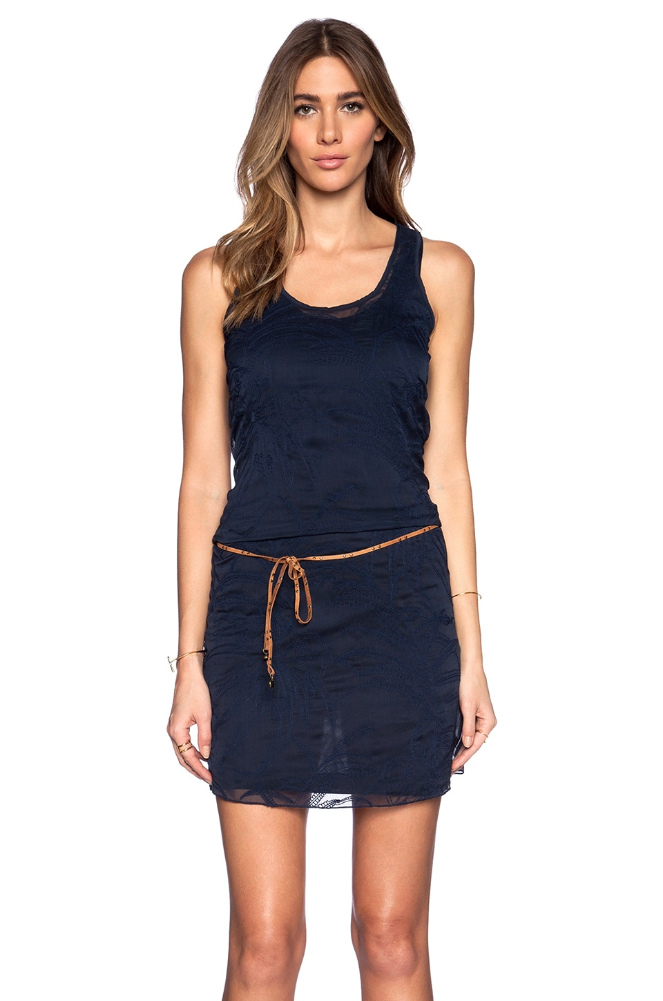 Maison Scotch Embroidered Dress in Navy