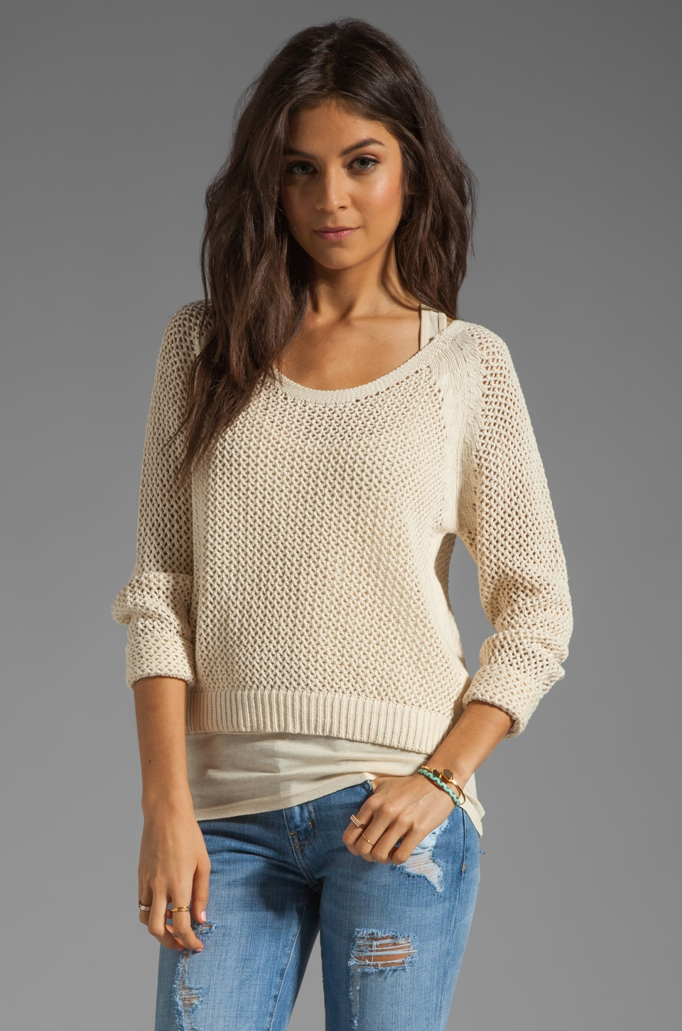 Maison Scotch 2 in 1 Mesh Long Sleeve Sweater in Cream