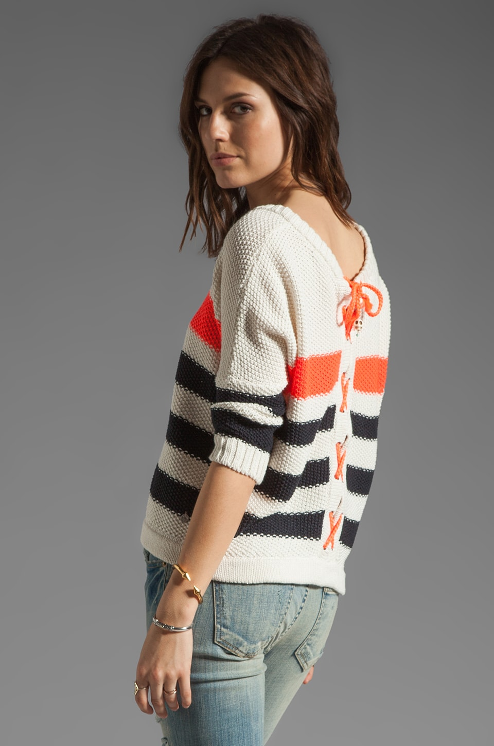 Maison Scotch Stripe Knit Sweater in Cream