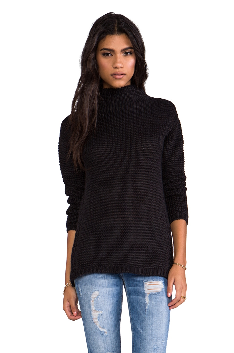Maison Scotch Knitted Funnel Neck Sweater in Black
