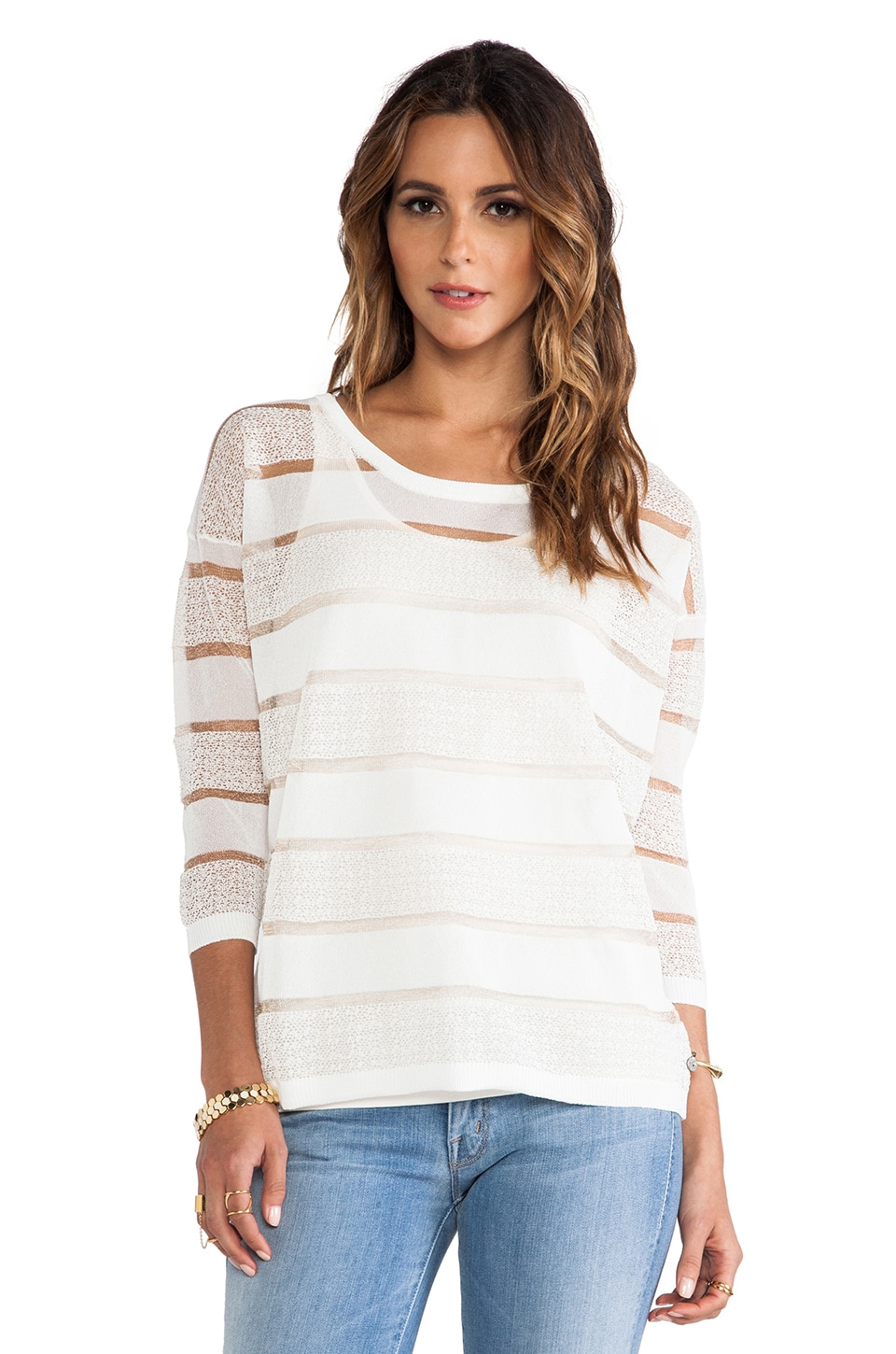 Maison Scotch Stripe Knit and Tank in White