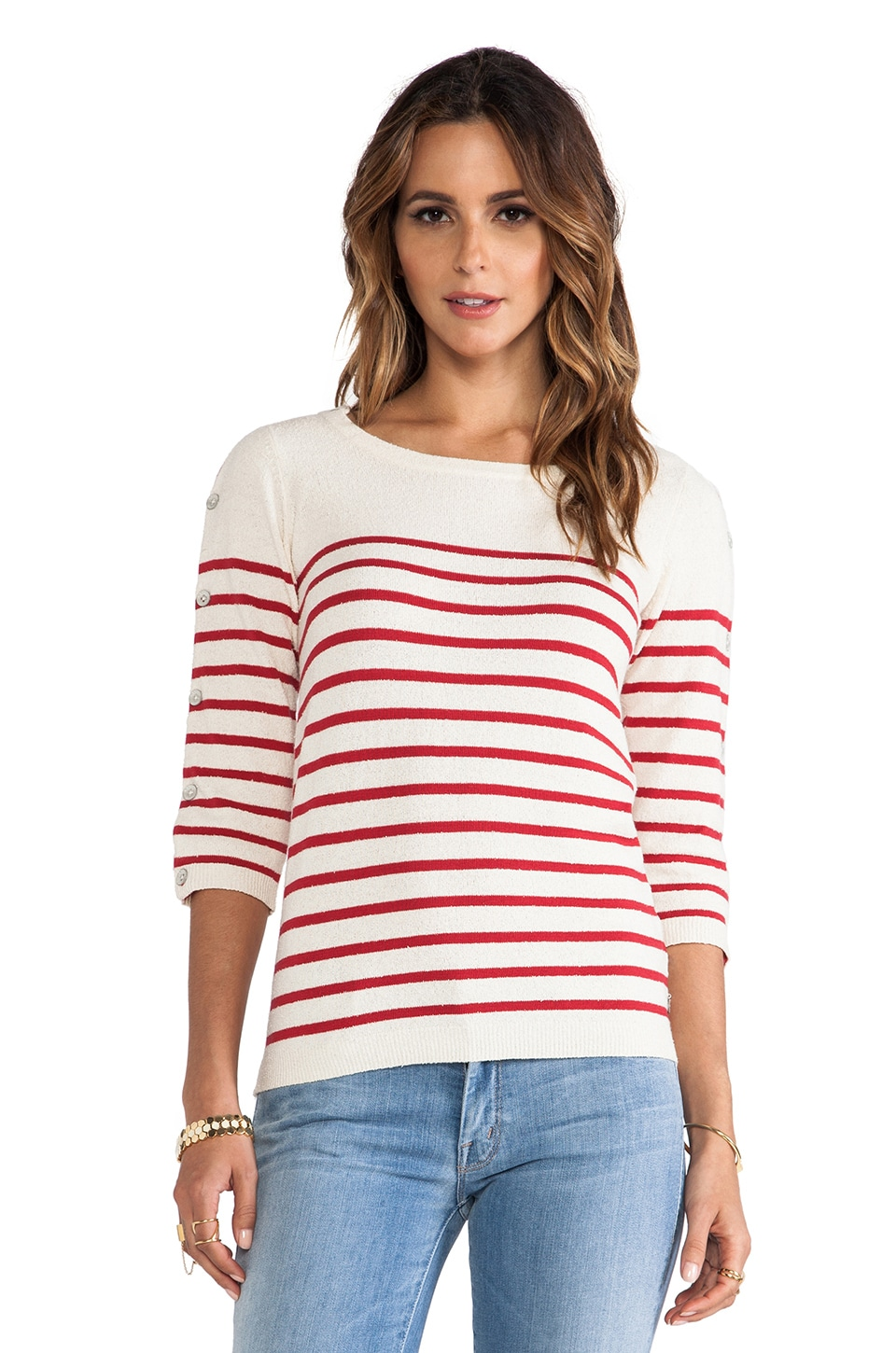 Maison Scotch Retro Sailor Sweater in Red & White