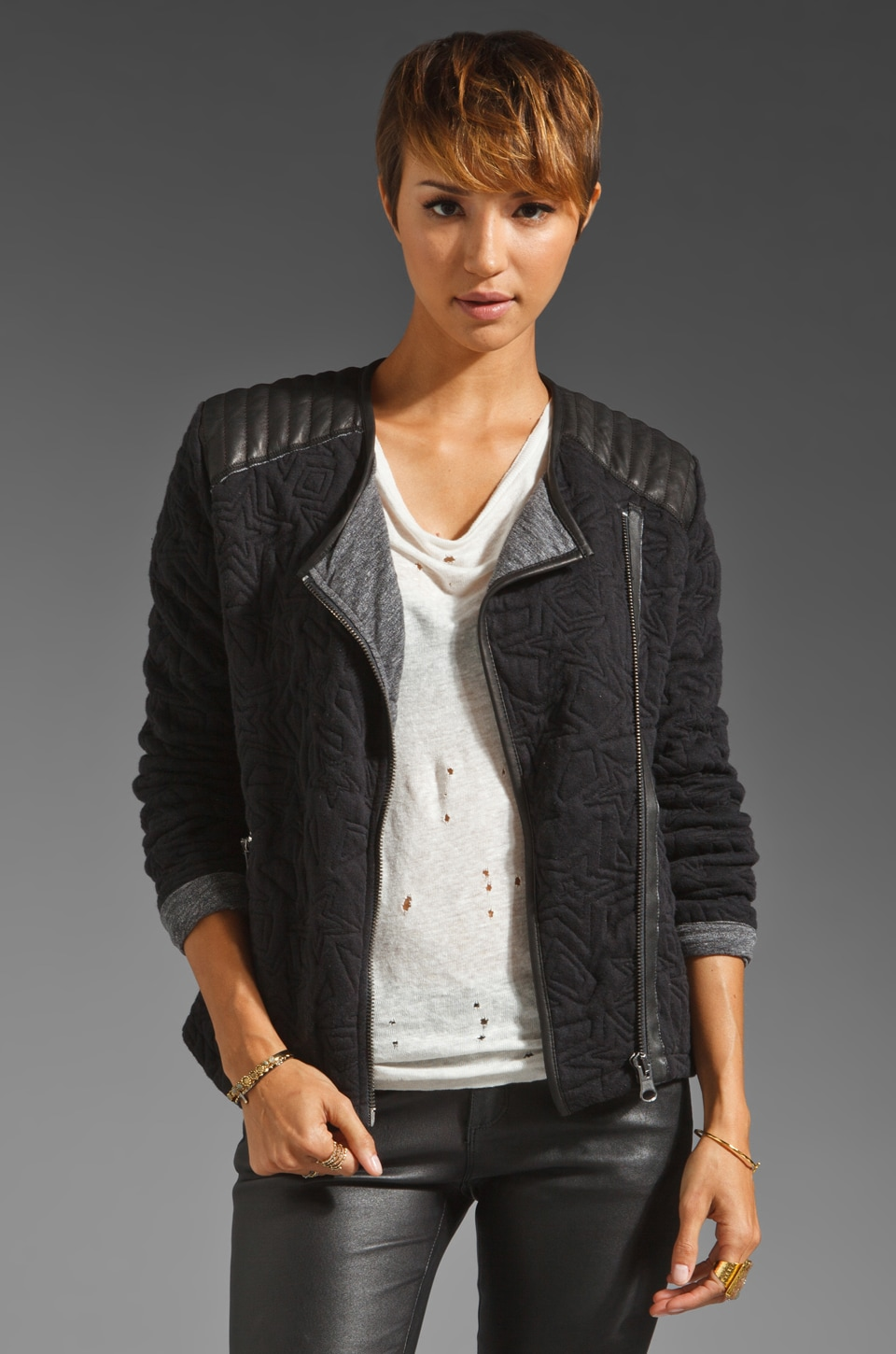 Maison Scotch Star Quilted Biker Jacket in Black