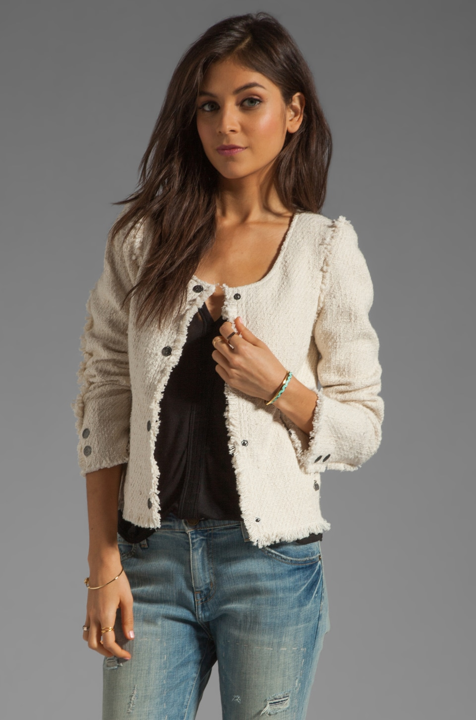 Maison Scotch Tweed Blazer in Cream