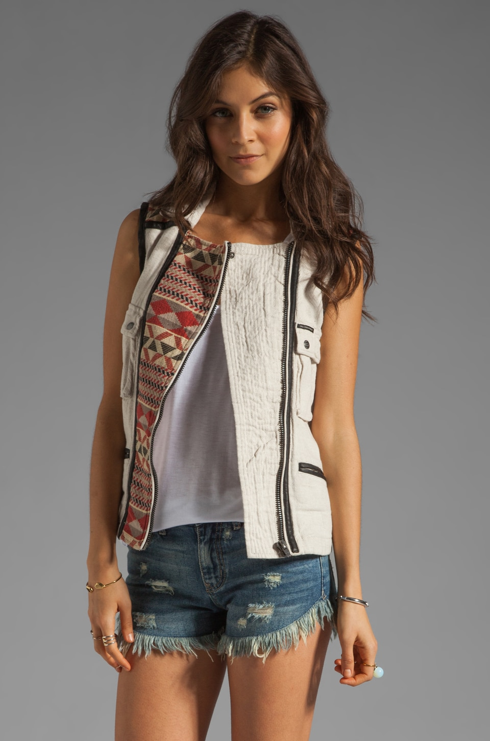 Maison Scotch Washed Linen Vest in Khaki