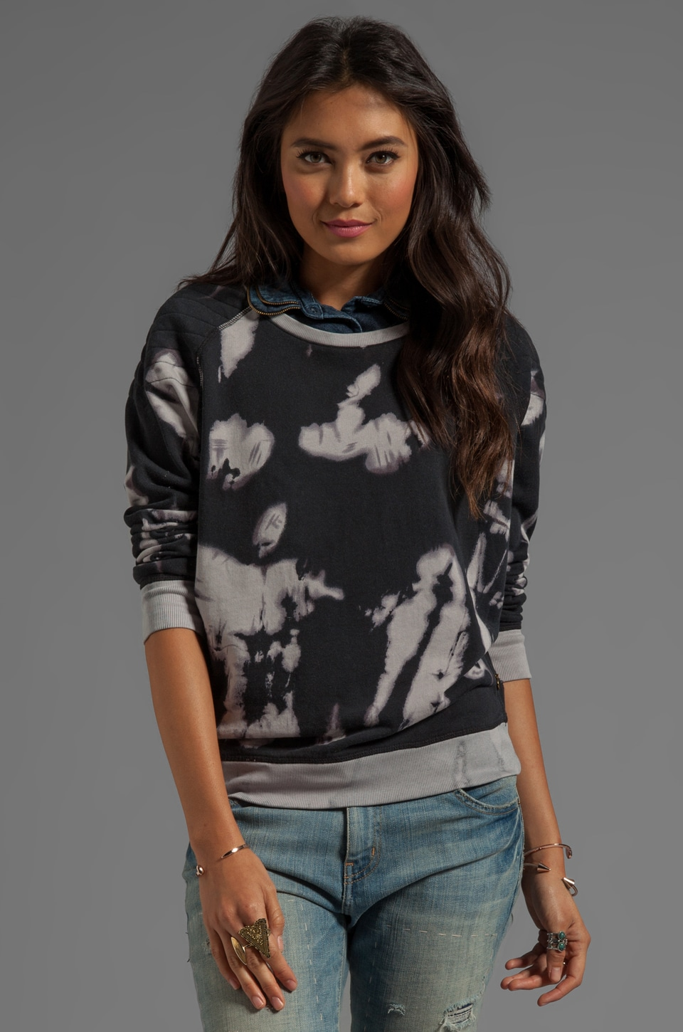 Maison Scotch Moto Tie Dye Sweatshirt in Black