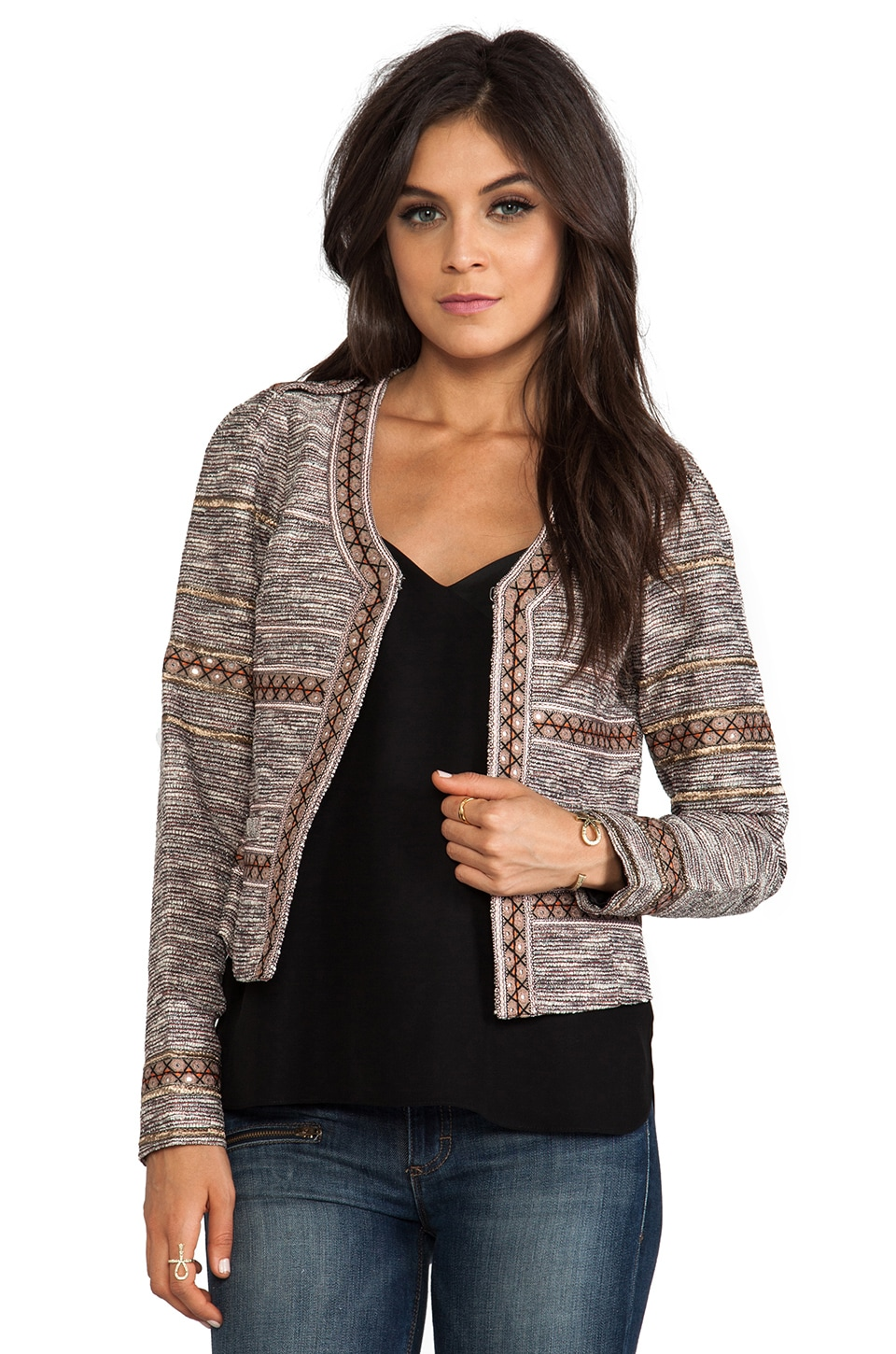 Maison Scotch Structured Embellished Blazer in Multi
