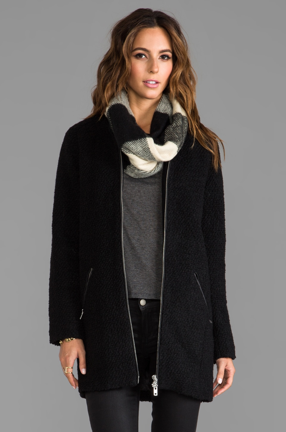 Maison Scotch Buckle Trench with Plaid Scarf in Black