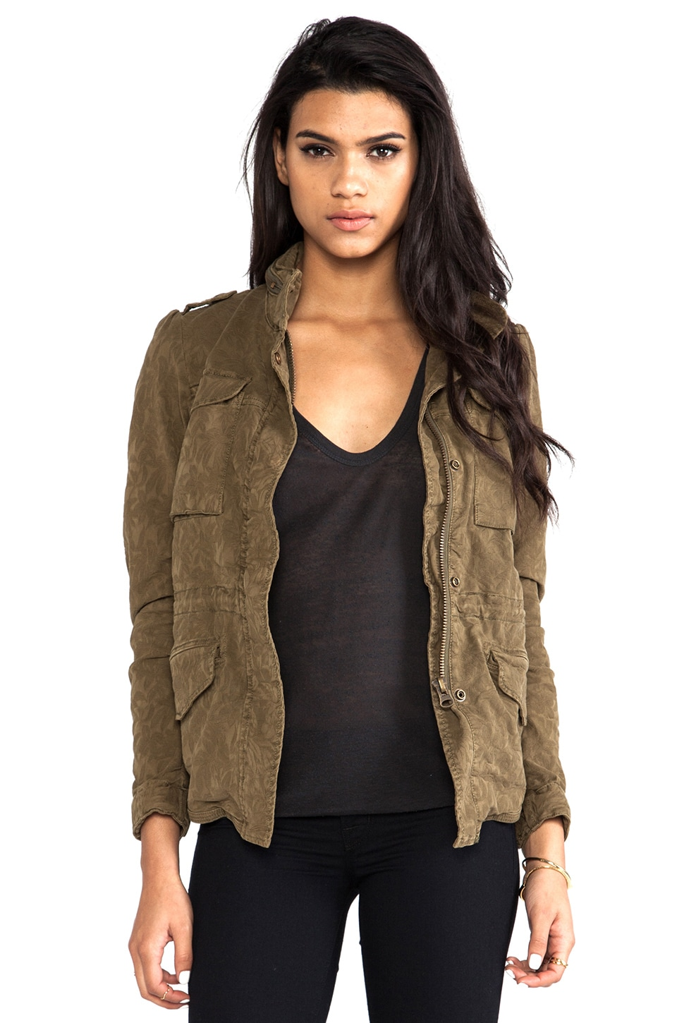 Maison Scotch Fitted Military Jacket in Army