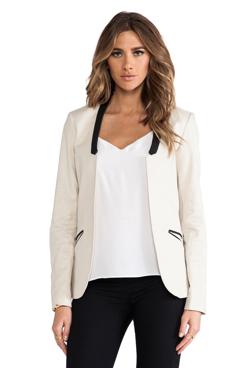 Maison Scotch Collarless Blazer in Cream
