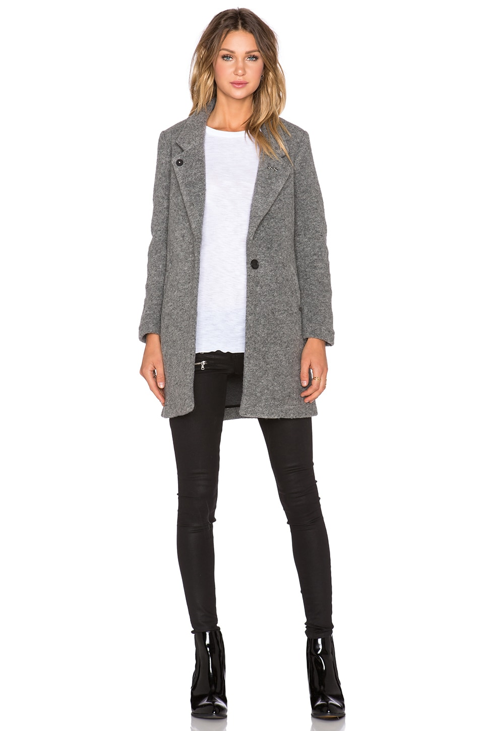Maison Scotch Tailored Coat in Heather Grey