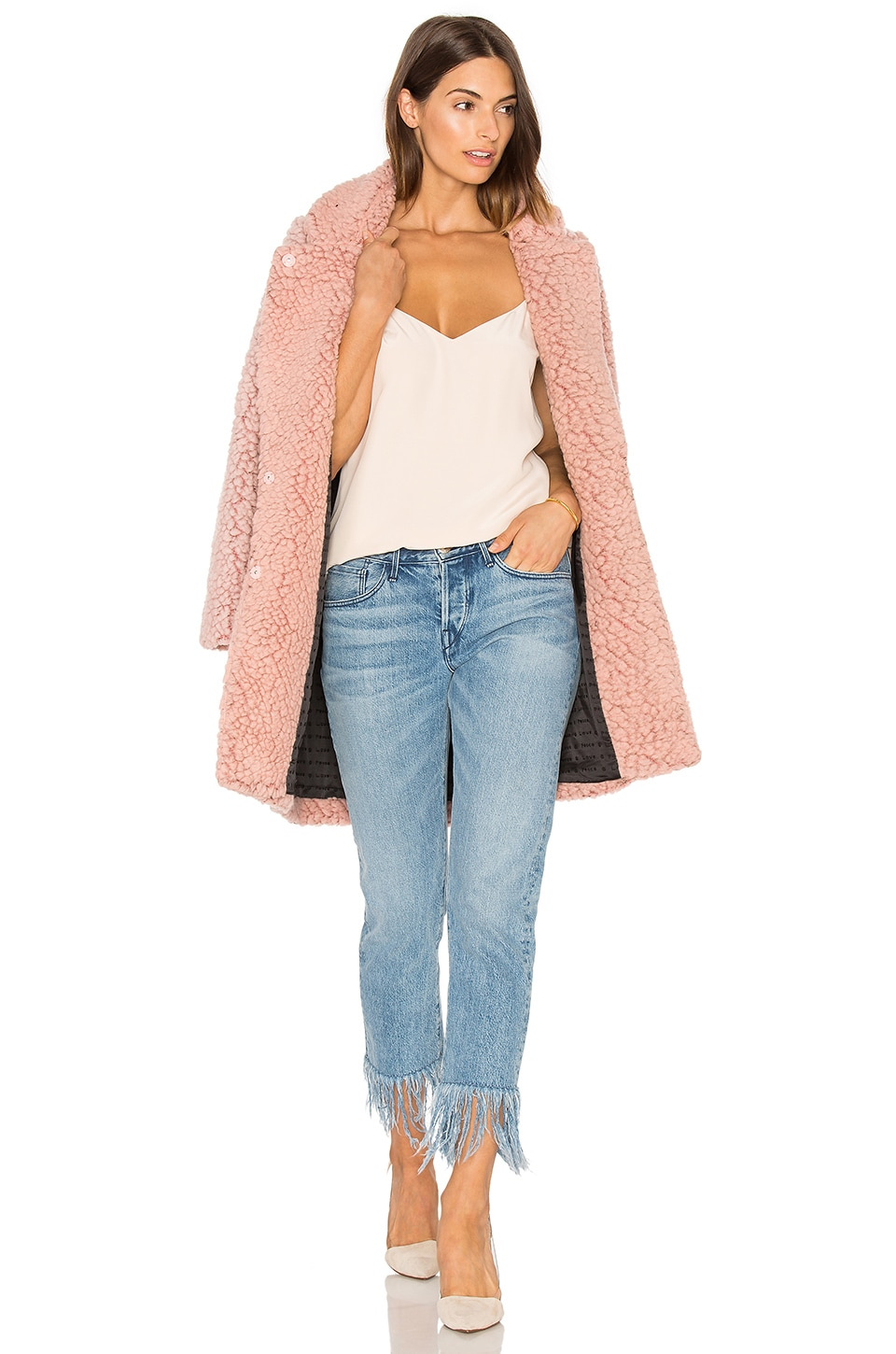 Maison Scotch Teddy Bear Cocoon Faux Fur Coat in Blossom Melange