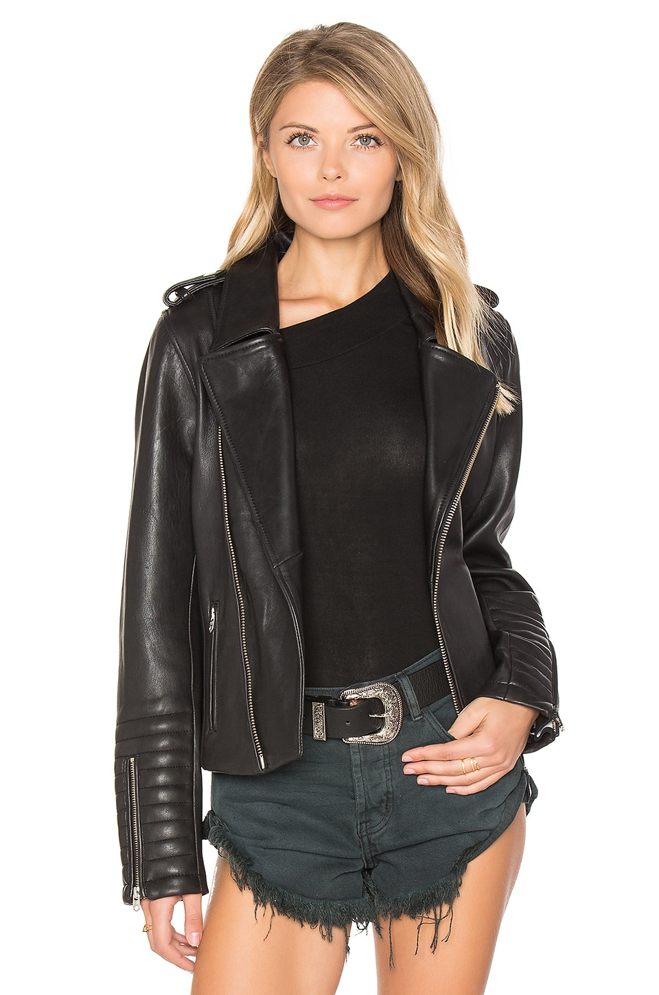 Biker Leather Jacket by Maison Scotch