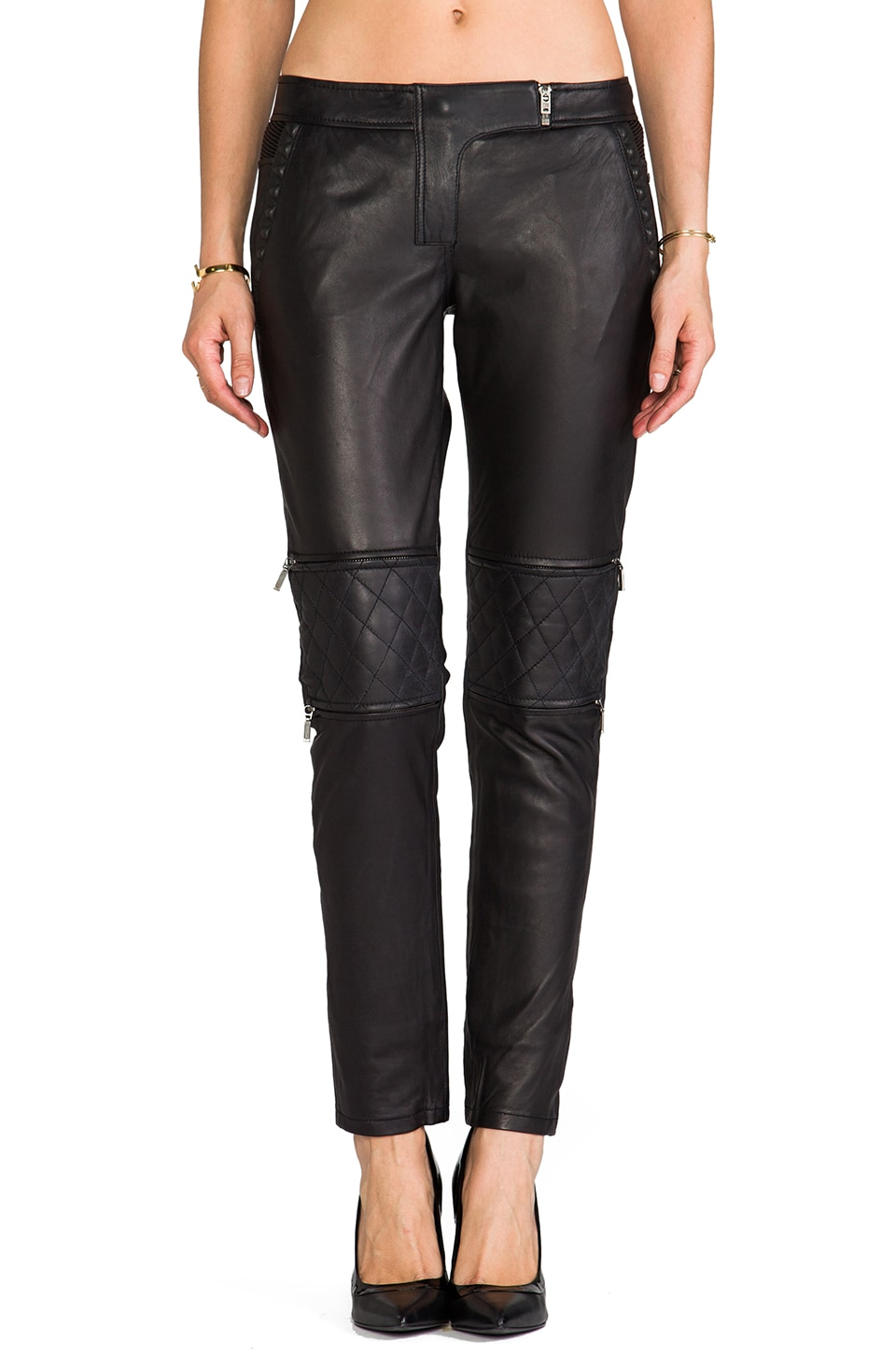 Maison Scotch Leather Moto Pants in Black