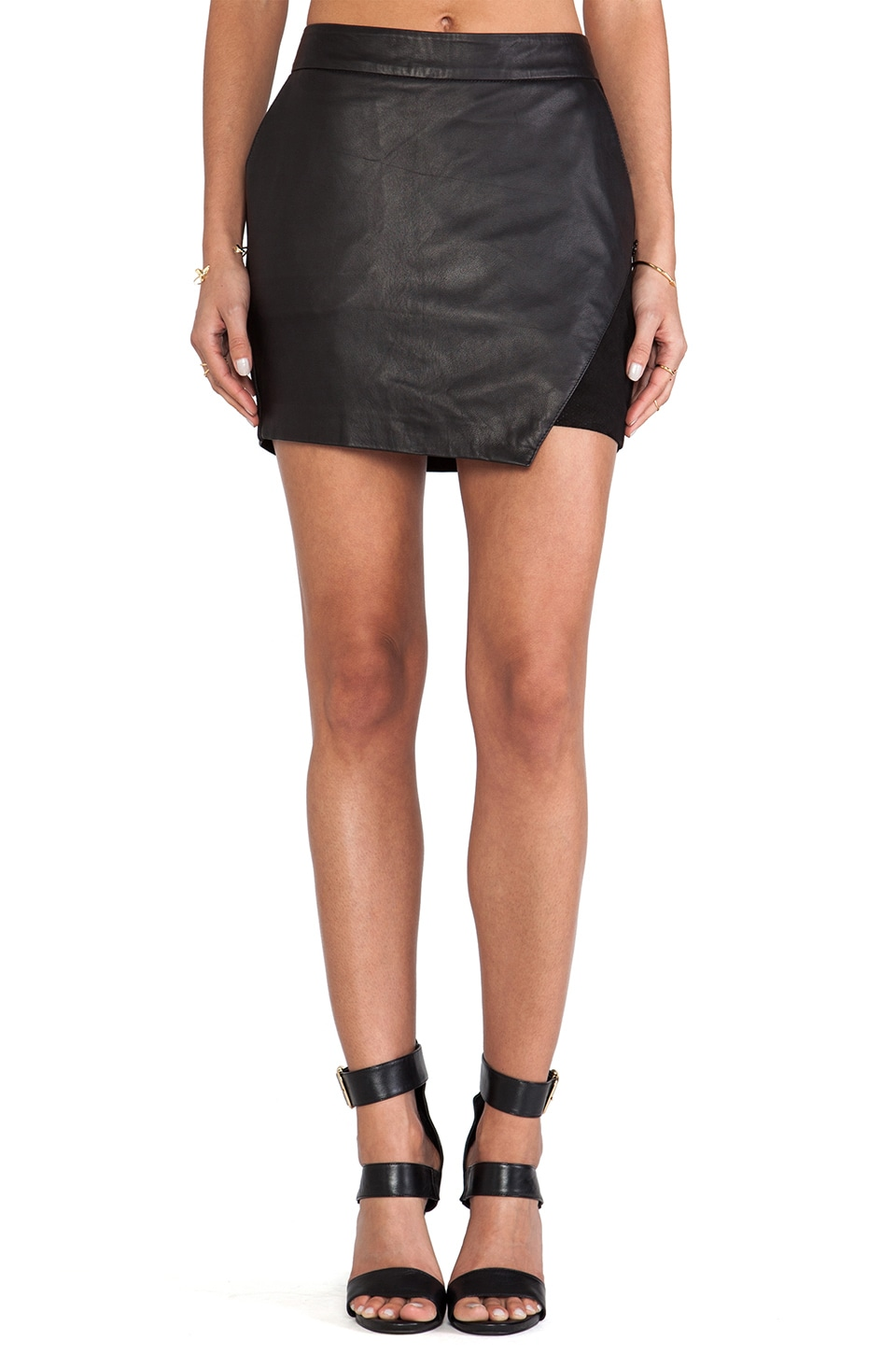 Maison Scotch Leather Skirt in Black