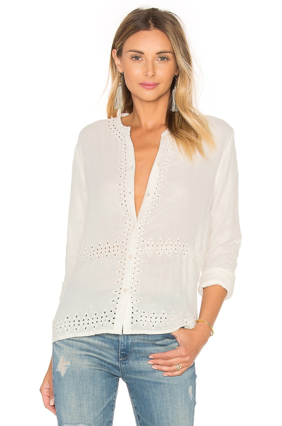Embroidered Button Up by Maison Scotch