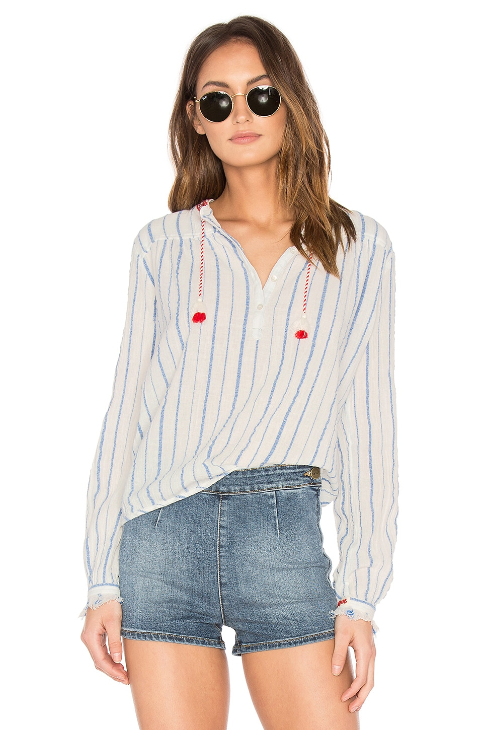 Embroidered Woven Top by Maison Scotch