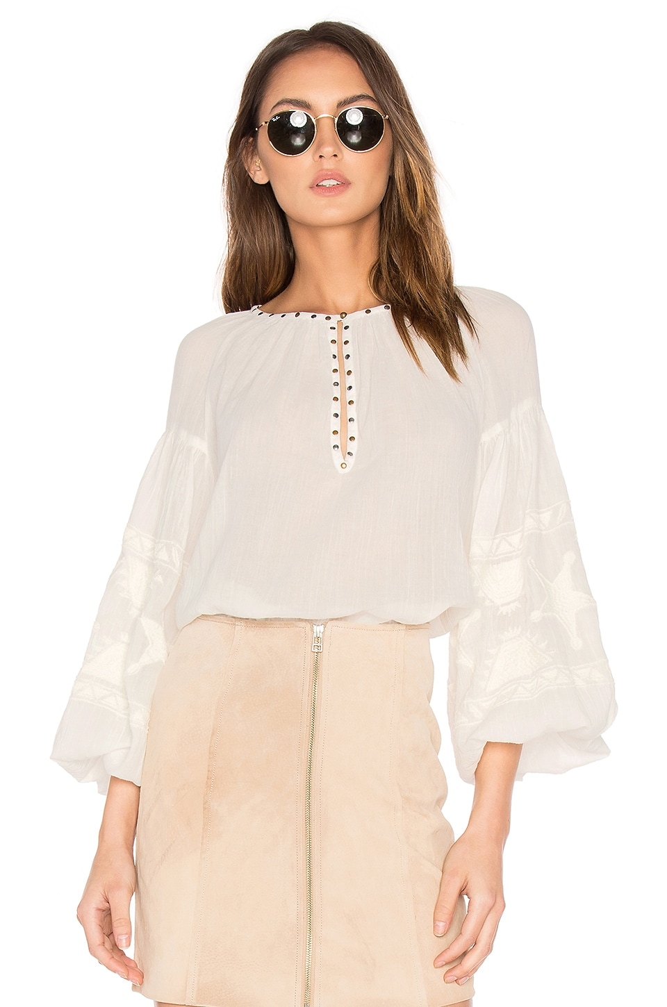 Maison Scotch Embroidered Tunic Top in Off White
