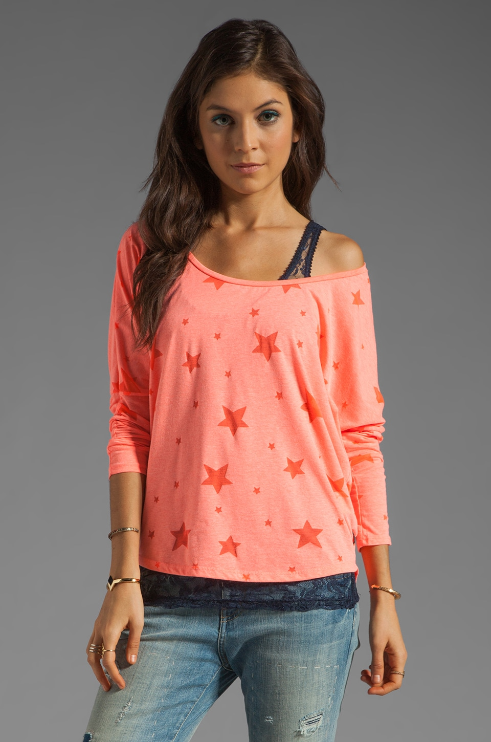 Maison Scotch Lace Tank with Star Tee in Coral