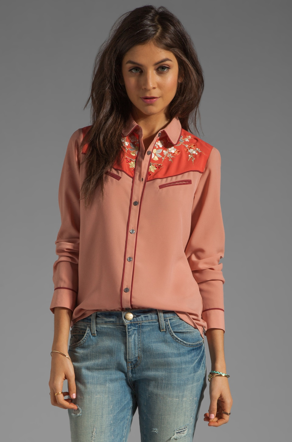 Maison Scotch Western Shirt in Dusty Rose