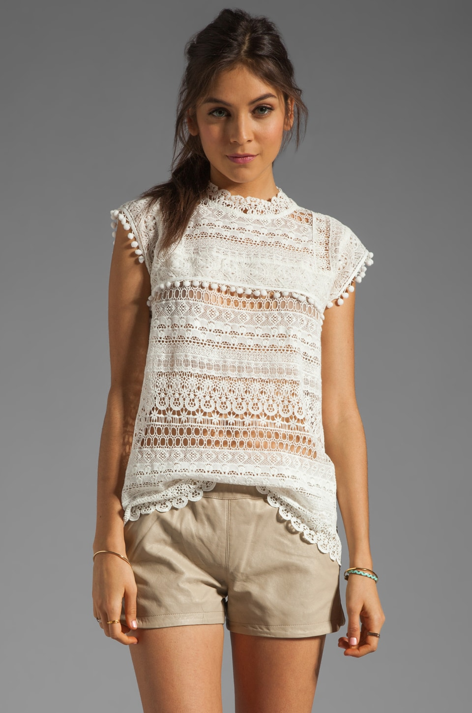Maison Scotch Lace Turtleneck Top in Cream
