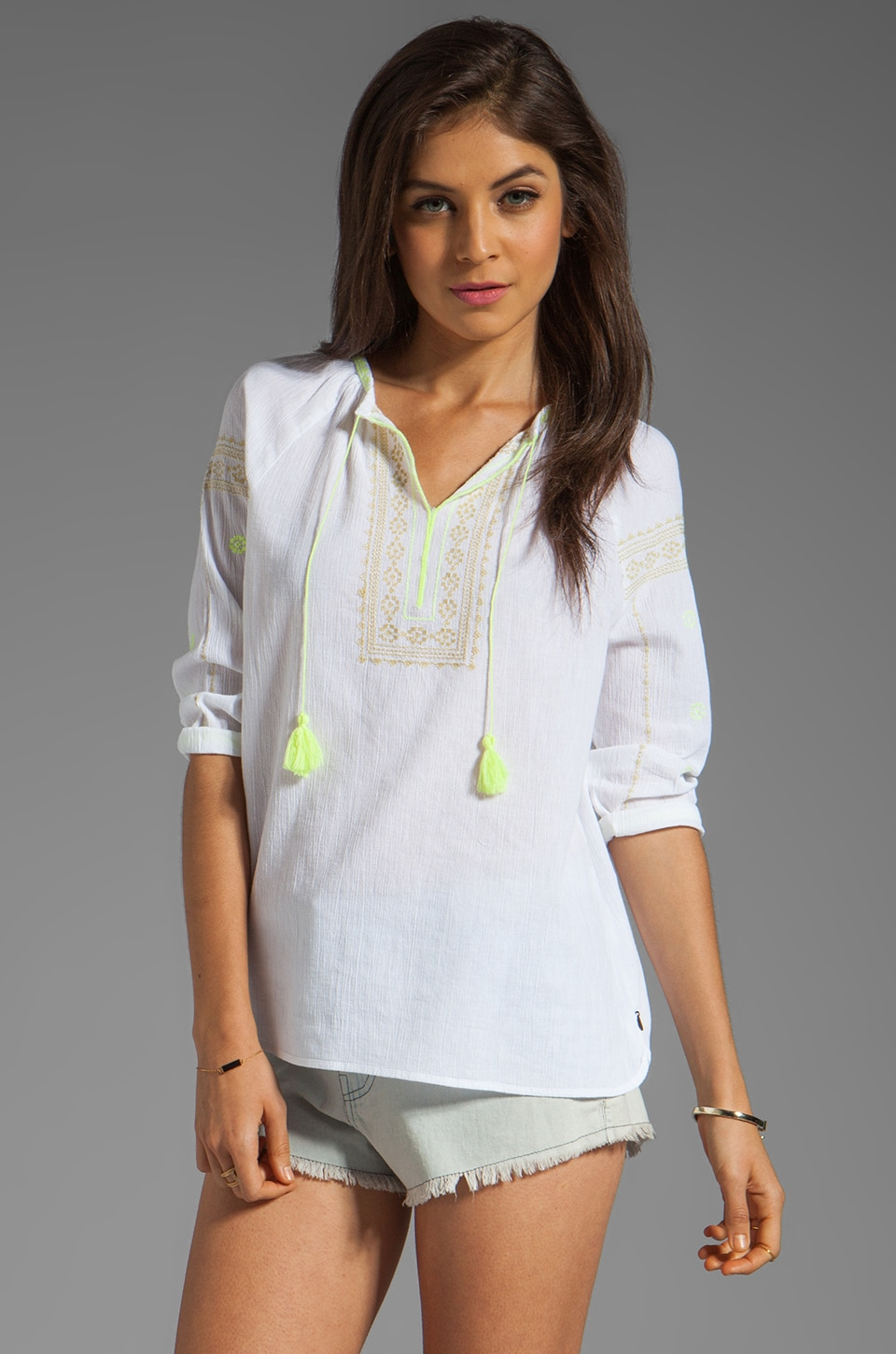 Maison Scotch Tunic with Embroidery in Neon Yellow