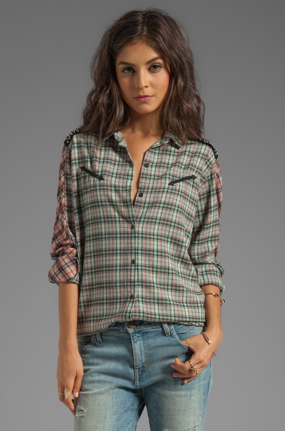 Maison Scotch Checkered Shirt in Multi Plaid