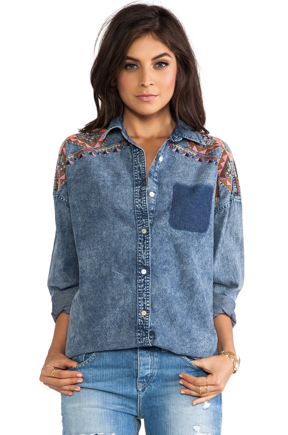 Maison Scotch Denim Shirt in Med Blue