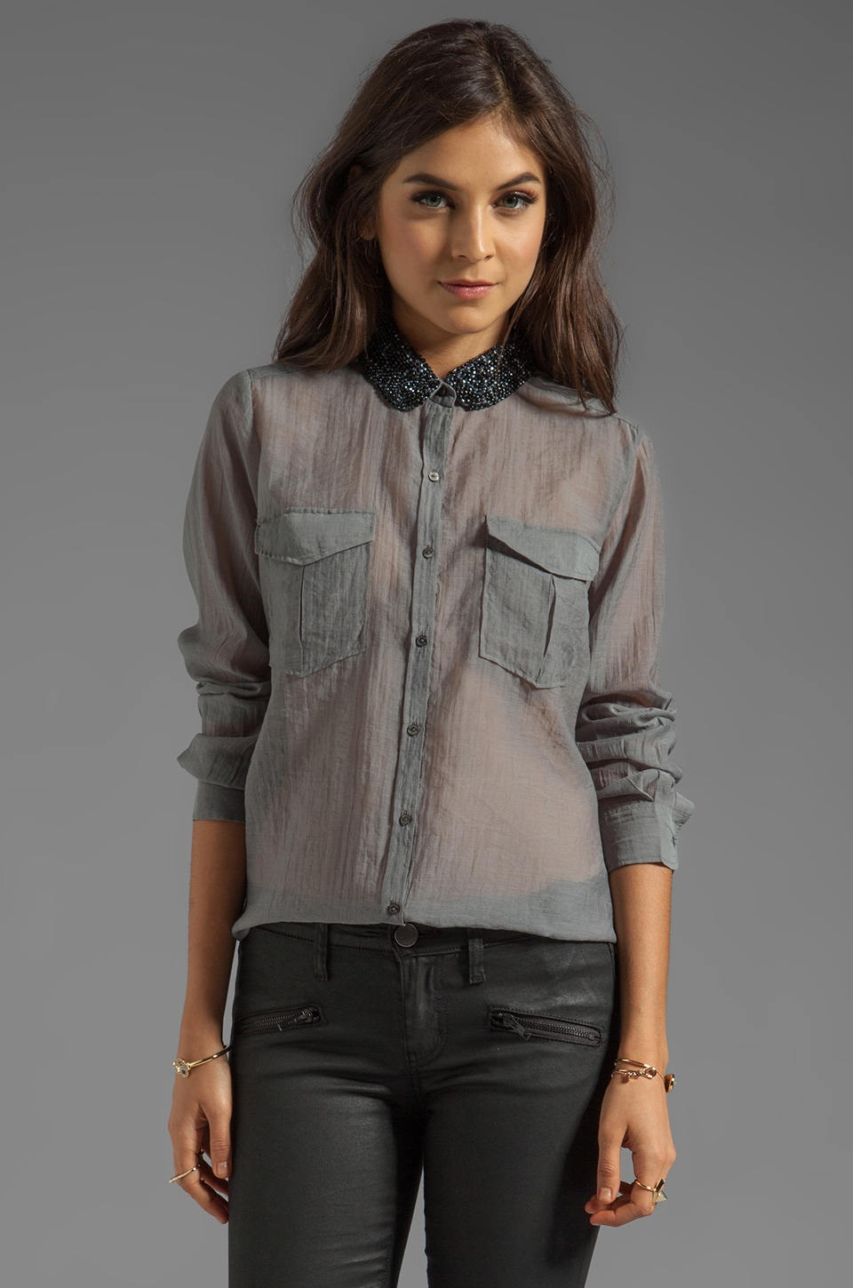 Maison Scotch Button Up Shirt with Embellished Collar in Grey