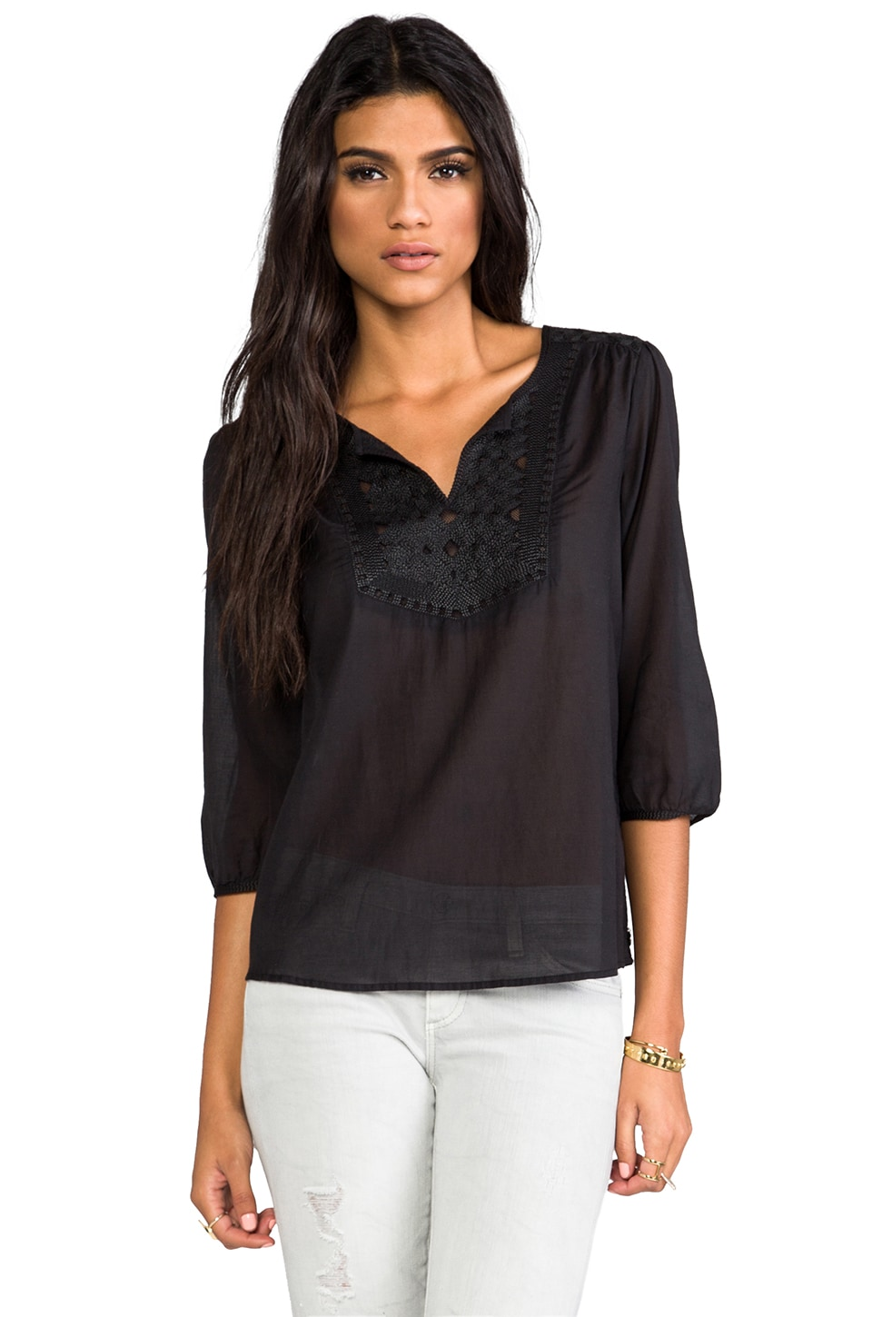Maison Scotch Long Sleeve Woven Blouse in Black