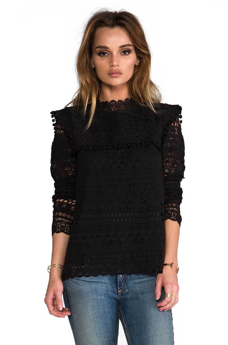 Maison Scotch Lace Long Sleeve Top in Black