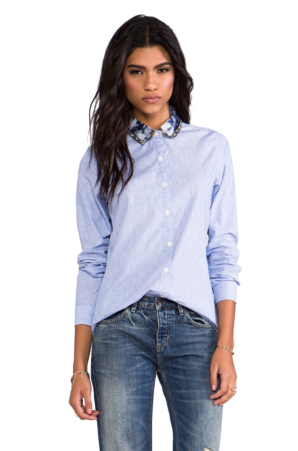 Maison Scotch Button Down Shirt with Embellished Collar in Blue