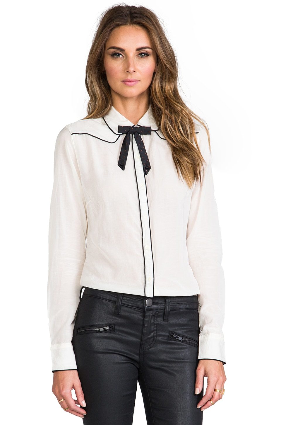 Maison Scotch Long Sleeve Blouse with Bow in Off White