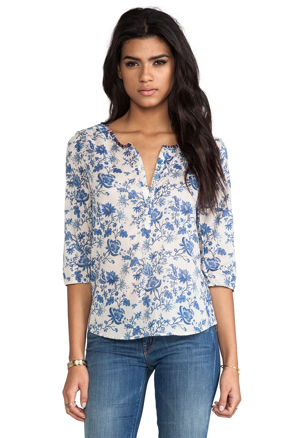 Maison Scotch Beaded Neck Blouse in Blue Floral