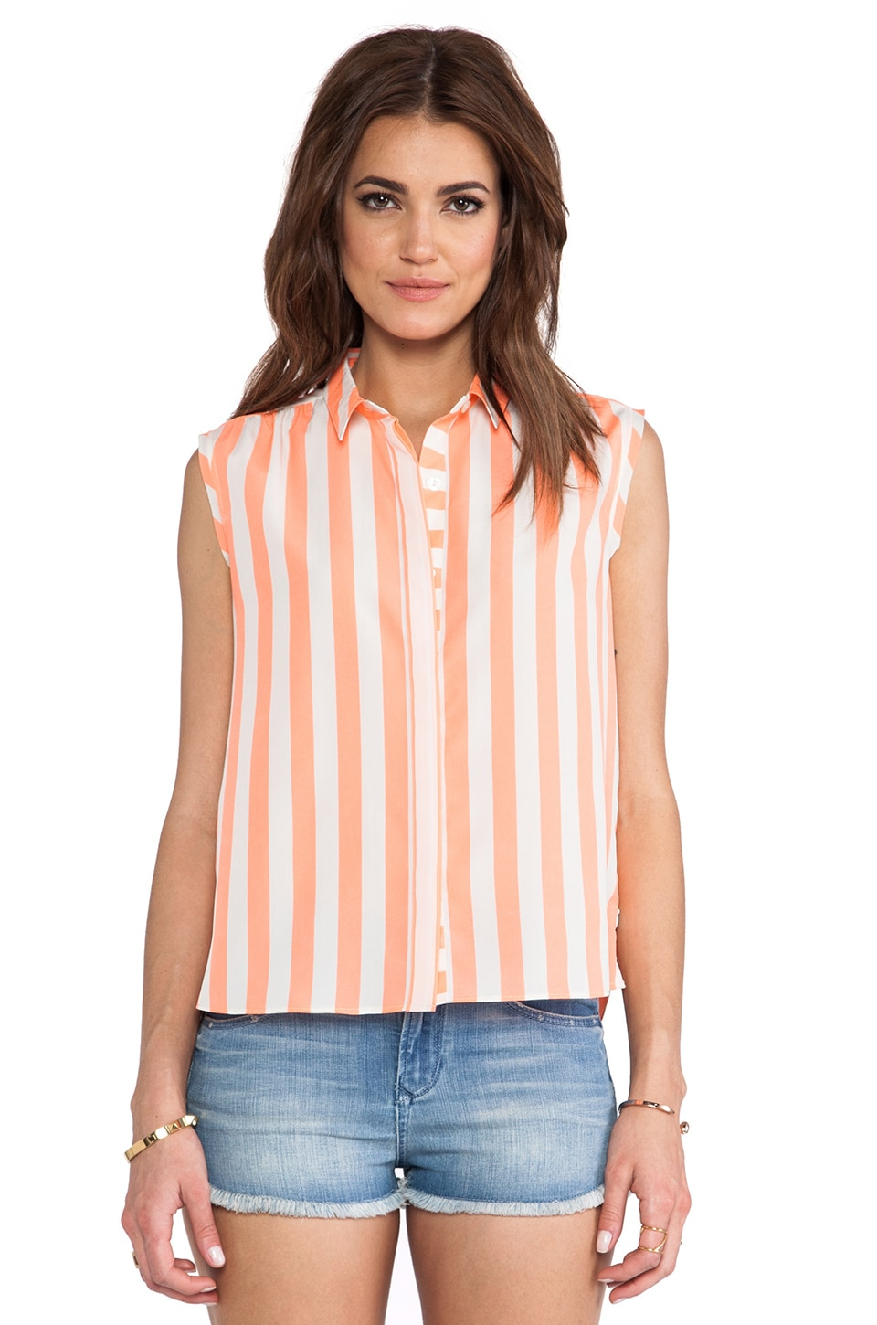 Maison Scotch Stripe Button Up in Orange & White