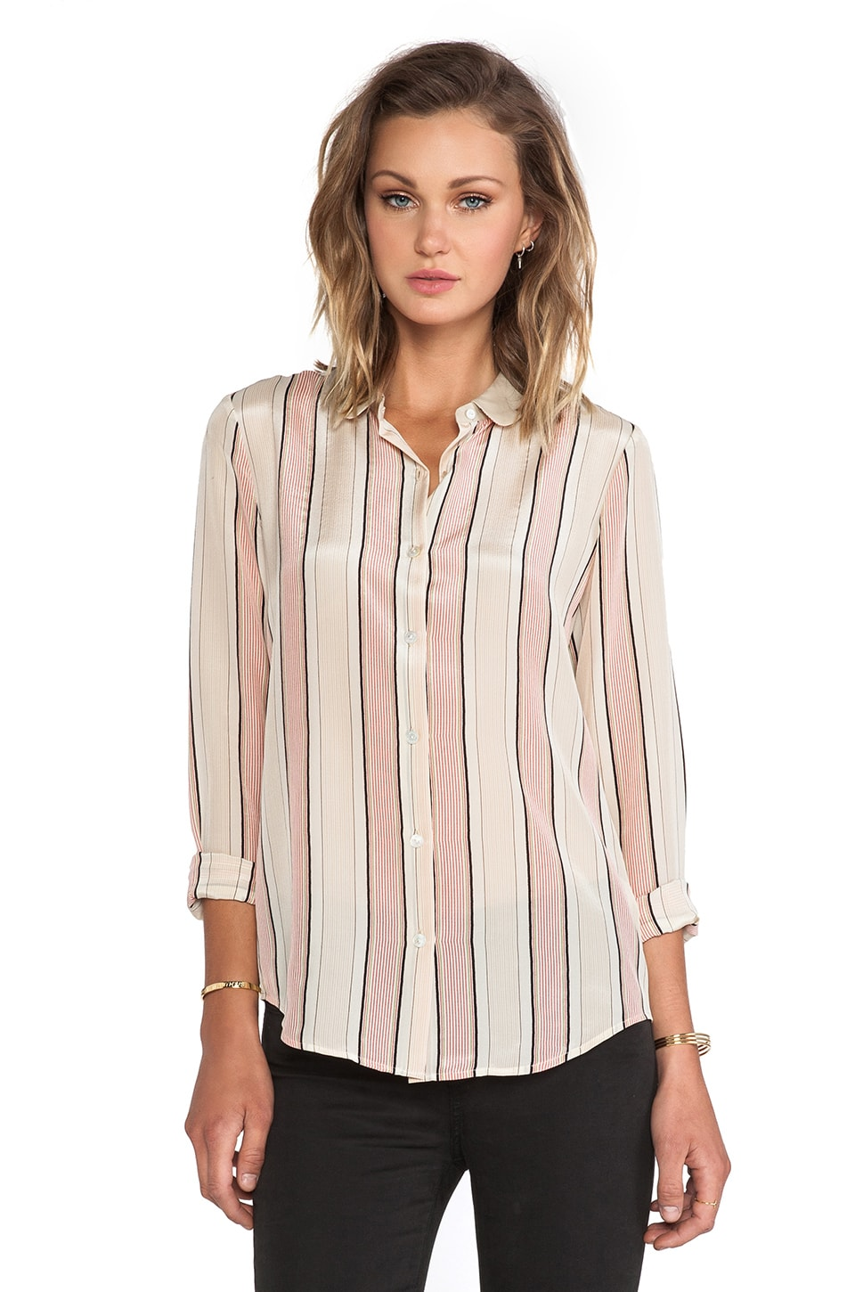 Maison Scotch Stripe Button Up Silk Top in Ivory