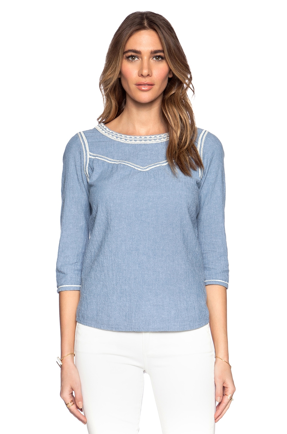 Maison Scotch Embroidered Chambray Top en Blue