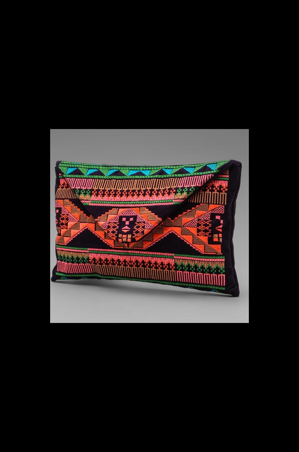 Maison Scotch Embroidered Clutch in Purple Multi