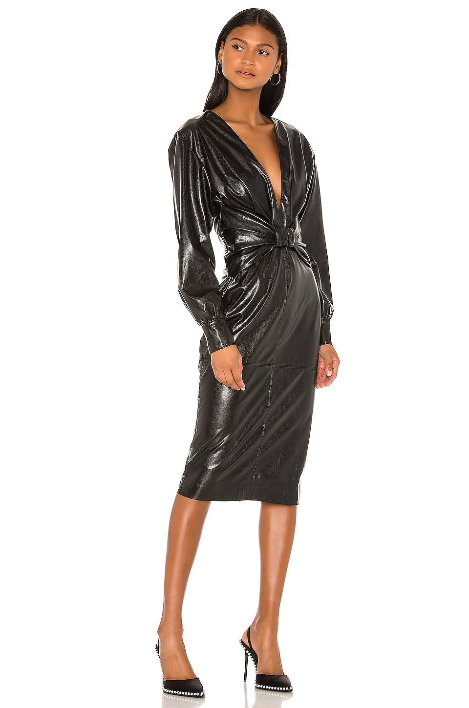MSGM Faux Leather Dress in Black