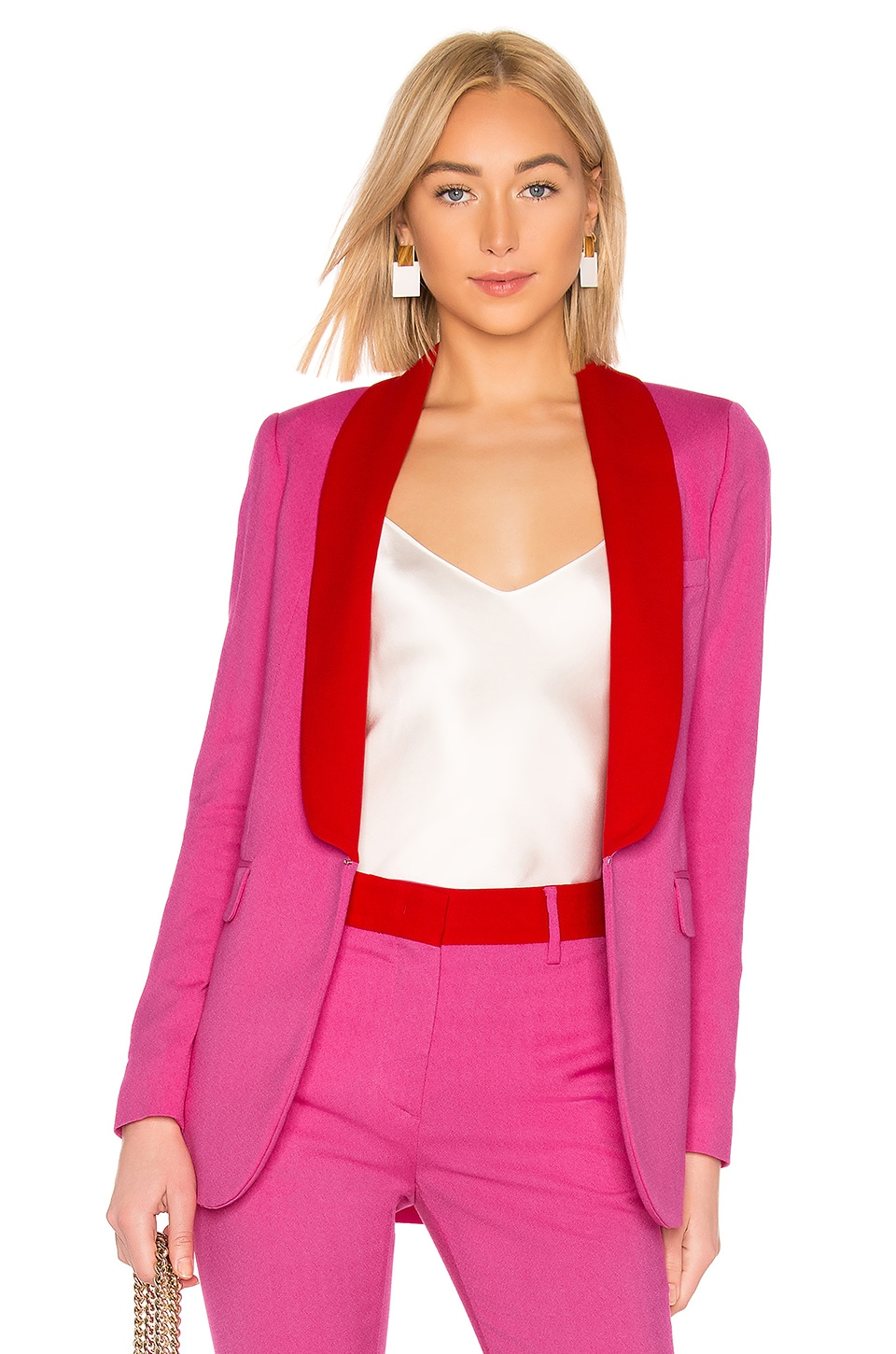 MSGM Two Tone Blazer in Hot Pink