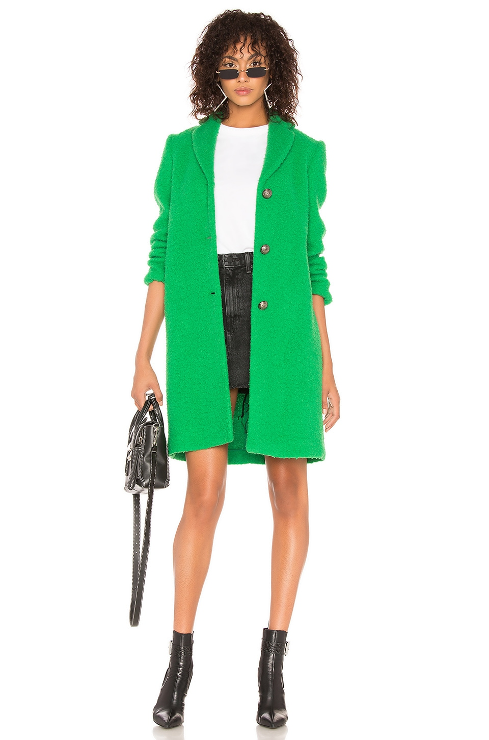 MSGM Fuzzy Coat in Kelly Green