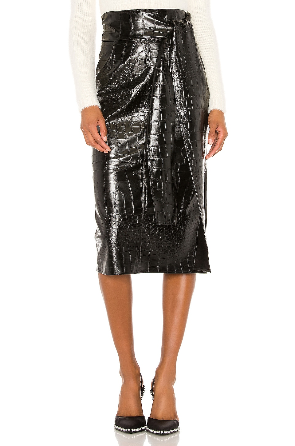 MSGM Faux Leather Skirt in Black