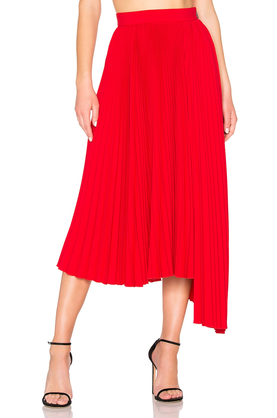 MSGM Pleated Maxi Skirt in Red