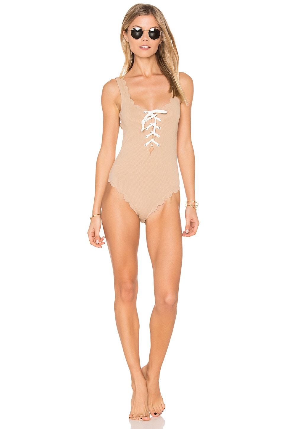 Marysia Swim Palm Springs Tie One Piece in Tan & White