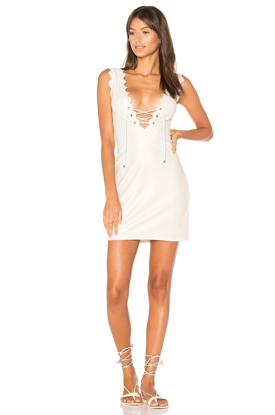 Marysia Swim Amagansett Tie Dress in Metallic Cream