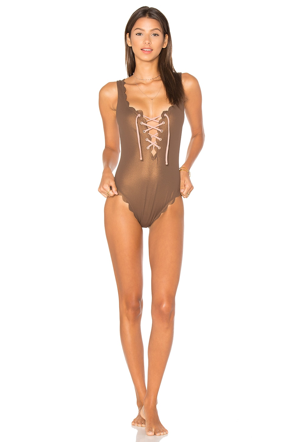 Marysia Swim Palm Springs Tie One Piece in Metallic Brown
