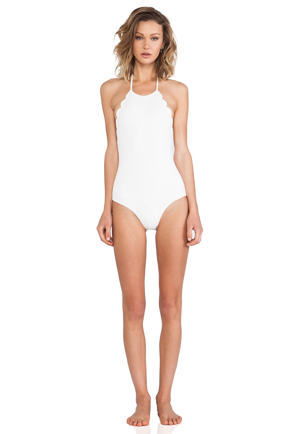 Marysia Swim Halter Low Back Scallop One Piece in Morning Dew