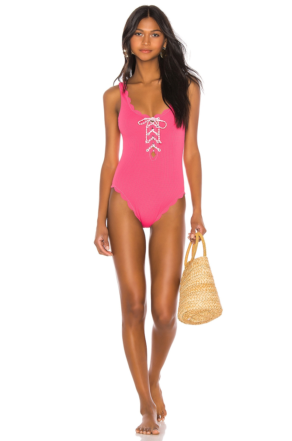 Marysia Swim Reversible Palm Springs Tie One Piece in Pink Gingham & Pink