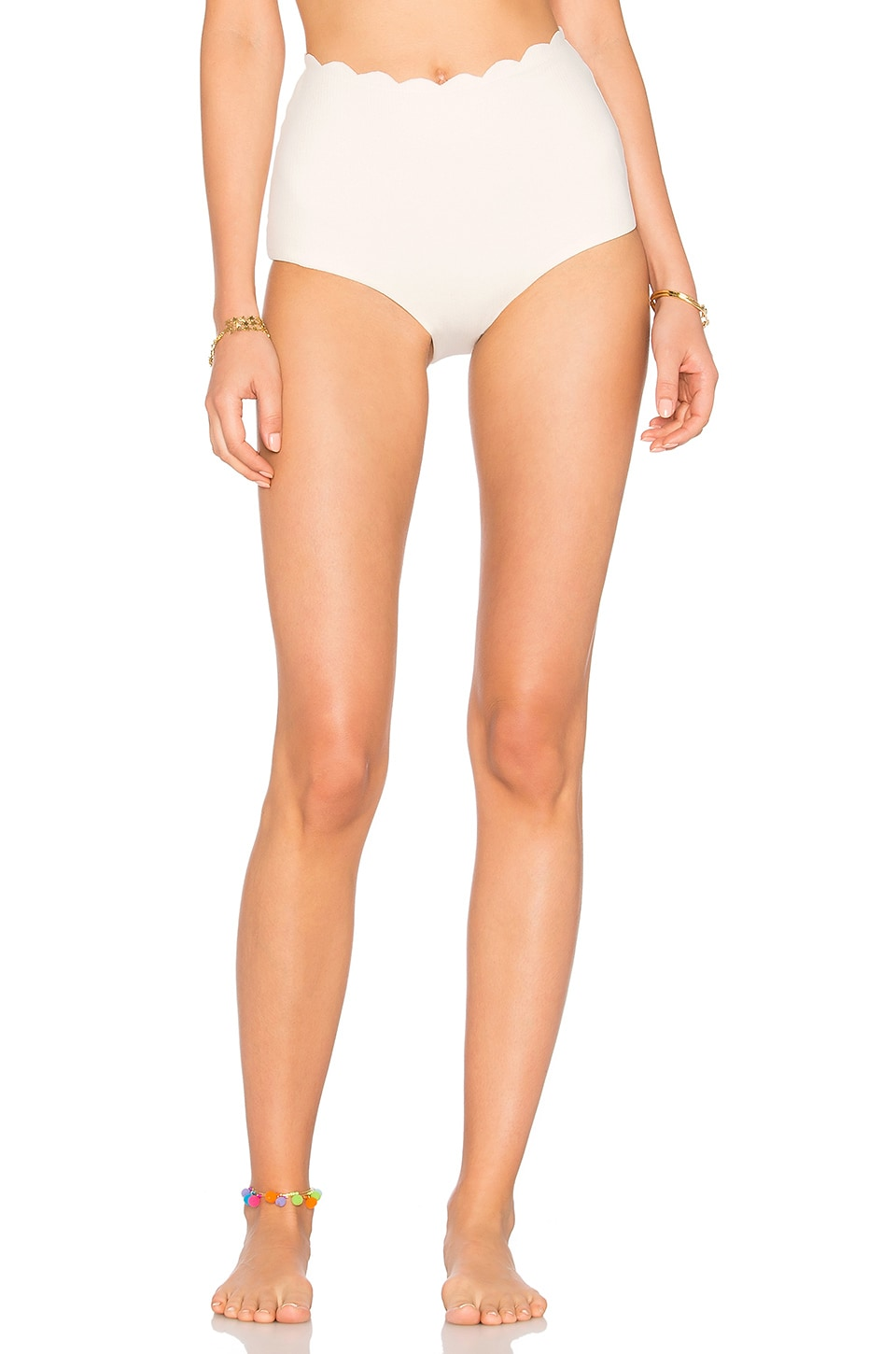 Marysia Swim Palm Springs High Waist Bikini Bottom in Coconut