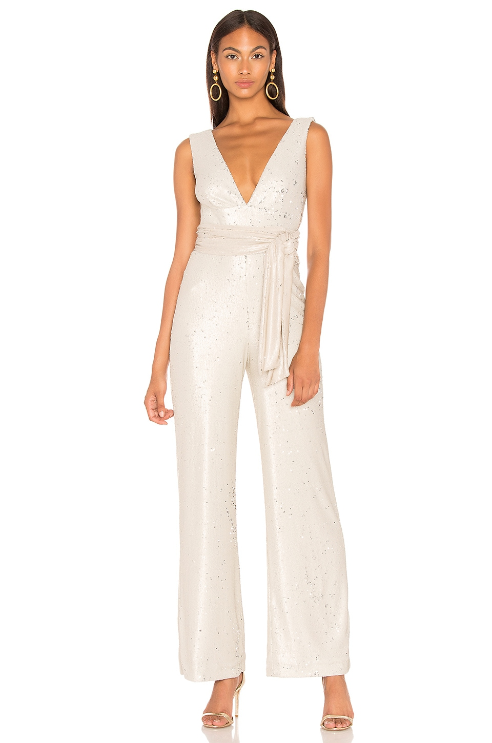 Mestiza New York Chrissy Sequin Jumpsuit en Nude